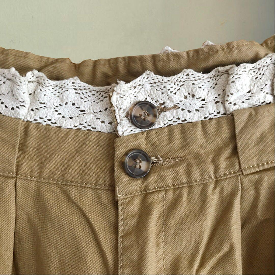 【最低價最低價-全新】卡其色蕾絲花邊休閒長褲
