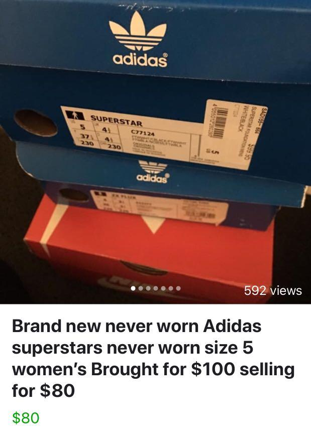 Addidas super starts brand new in box size 5 payed 100 price on box selling for 80 happy to post as well no charge
