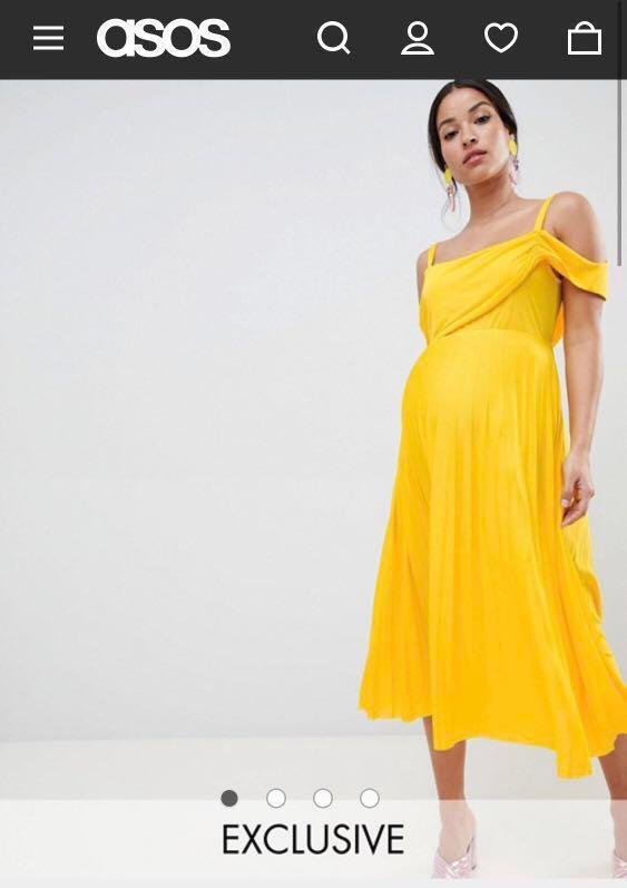 5a0683a7e3d ASOS Midi Maternity Dress In Yellow