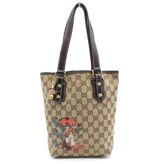 Authentic Gucci Verical Embroidered Mushroom Tote