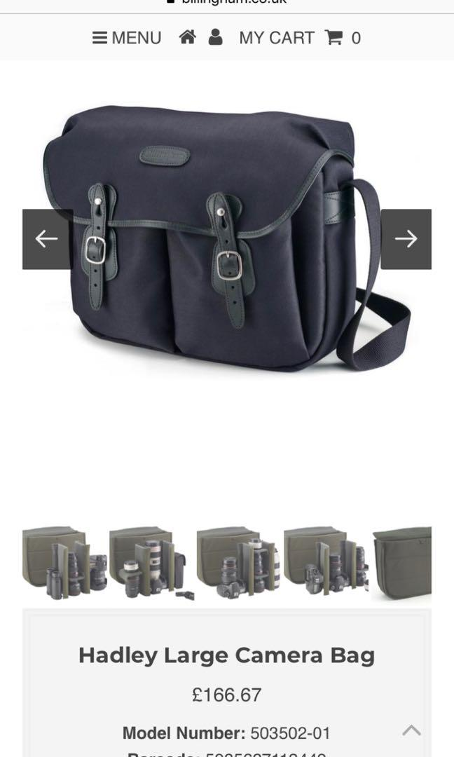 Billingham Large Hadley Blk Canvas made in England