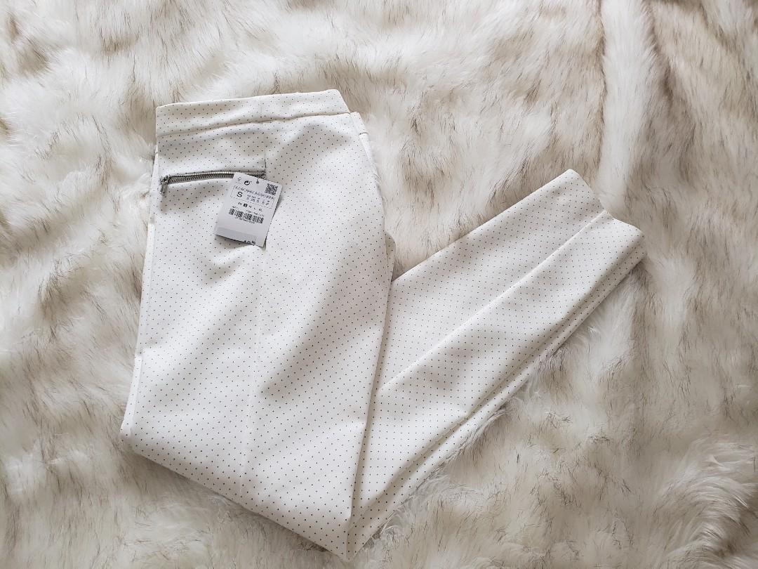 BNWT Zara white pin dot skinny pants