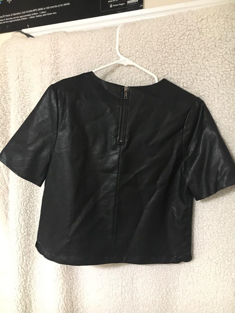 boxy leather cropped short sleeve top from forever 21