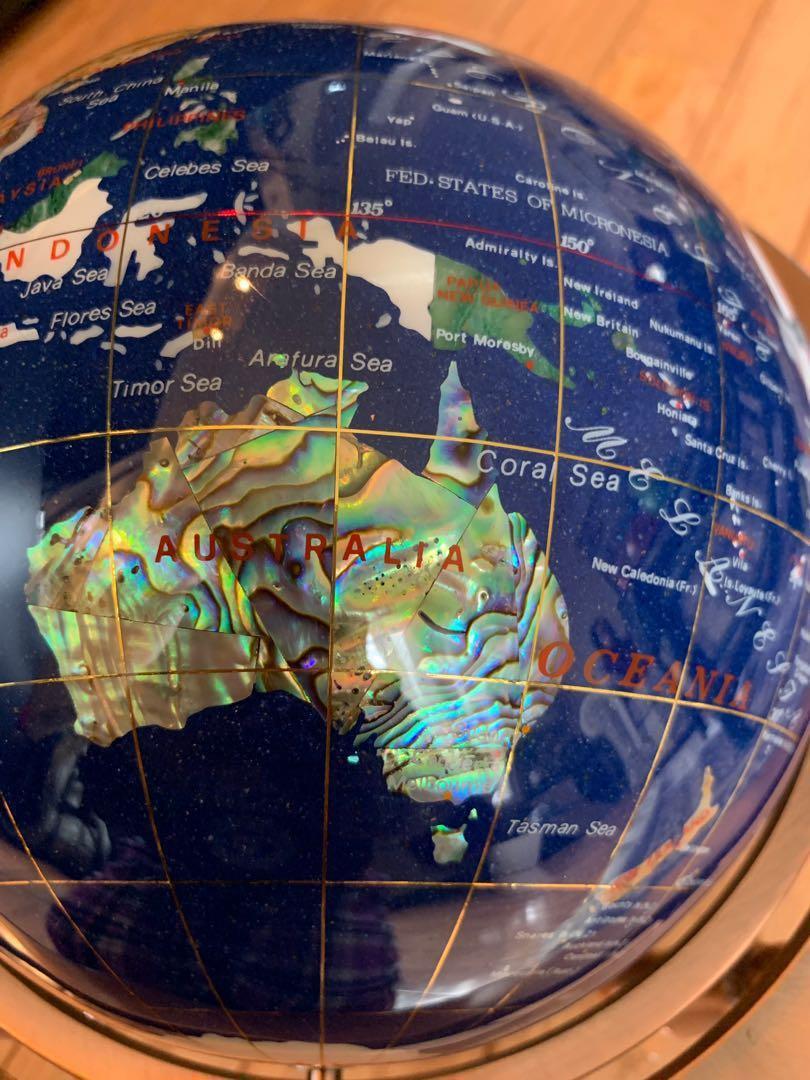 BRAND NEW Beautiful decorative globe with semi-precious stones (lapis lazuli)