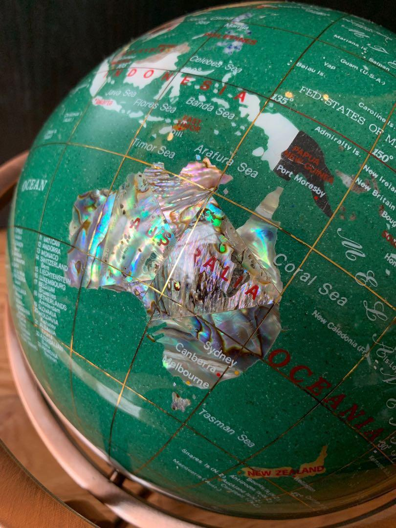 SALE PENDING decorative globe with semi precious stones (malachite)