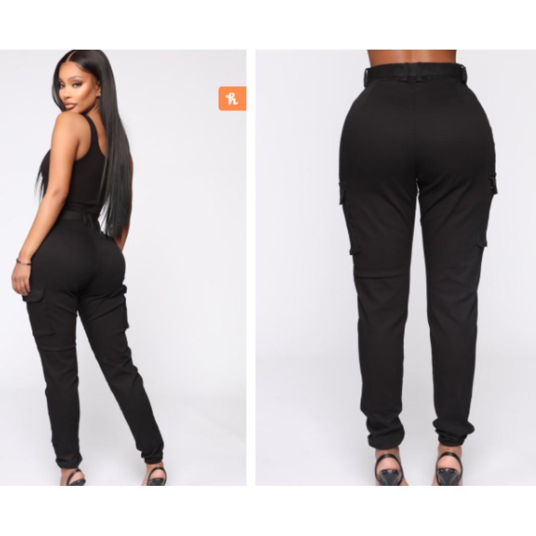 Brand new Fashion nova Large cadet Khloe oversized cargo pants - black