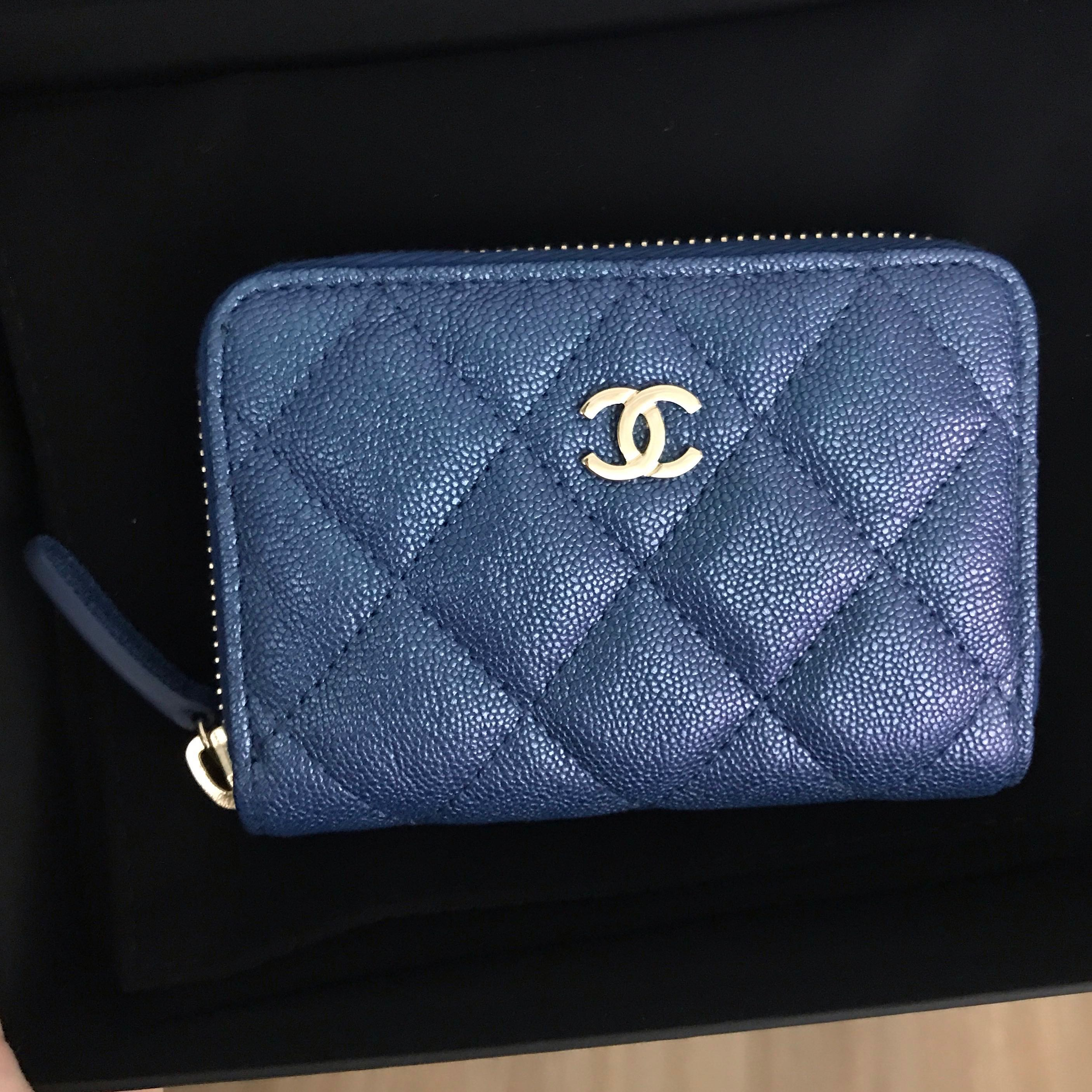 3524068bcfa0d5 Chanel 19S Iridescent Blue Zippy Cardholder with Back Pocket / 4 Card  Slots, Luxury, Bags & Wallets, Wallets on Carousell