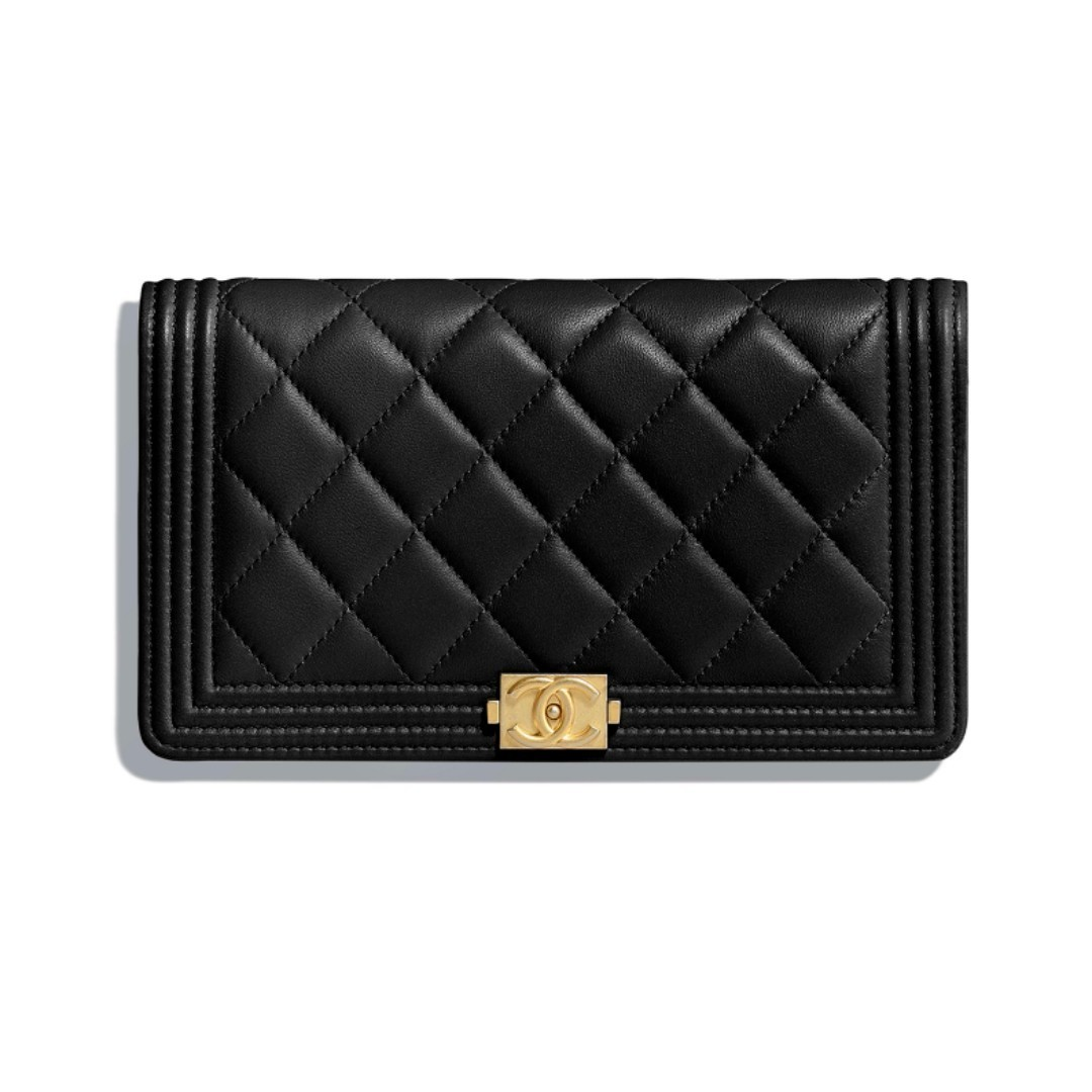 a2aa8e35617a Chanel Boy Long Wallet Black Lambskin Leather Gold, Luxury, Bags ...