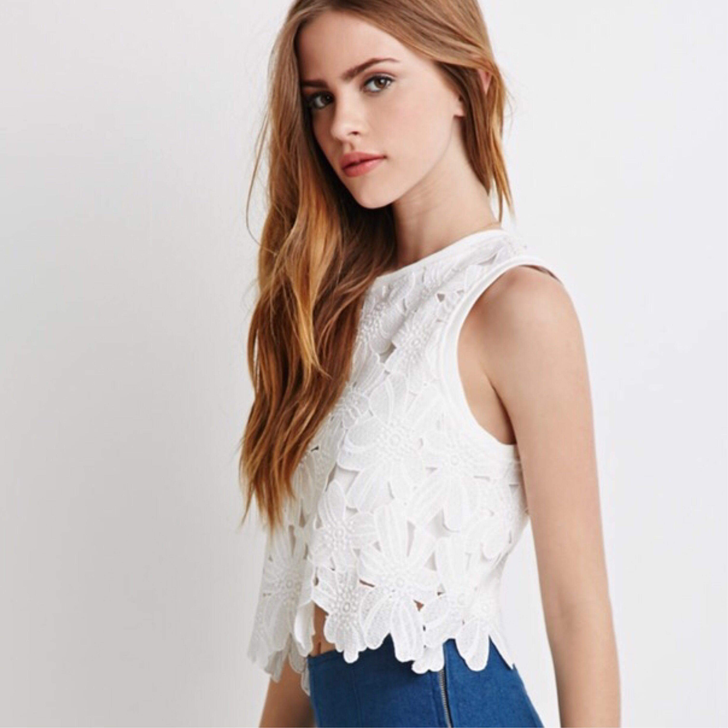 Forever 21 Floral Crochet Top Womens Fashion Clothes Tops On
