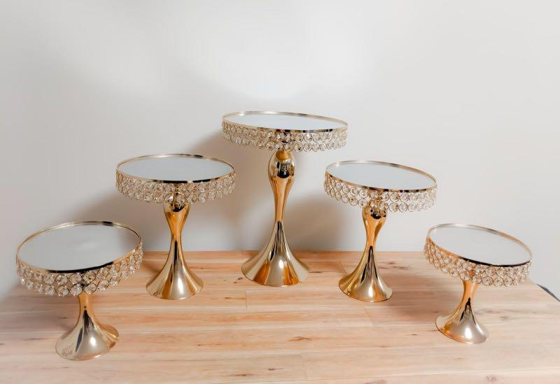 Gold Crystal Cake stands with mirrored top FOR RENT