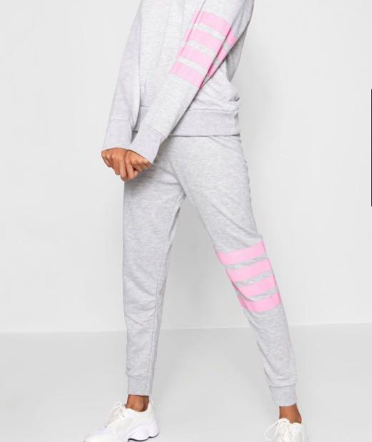 Grey and Pink Stripe Trackpants Sweatpants Trackies Joggers