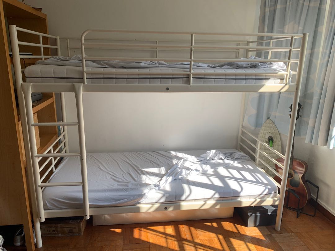Picture of: Ikea Bunk Bed White Metal Frame Incl 2 Mattresses Furniture Beds Mattresses On Carousell