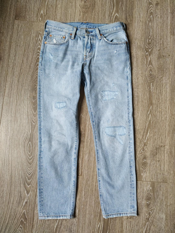 Levi's Levis 501 Taper Straight tapered legs light blue crop denim jeans w26