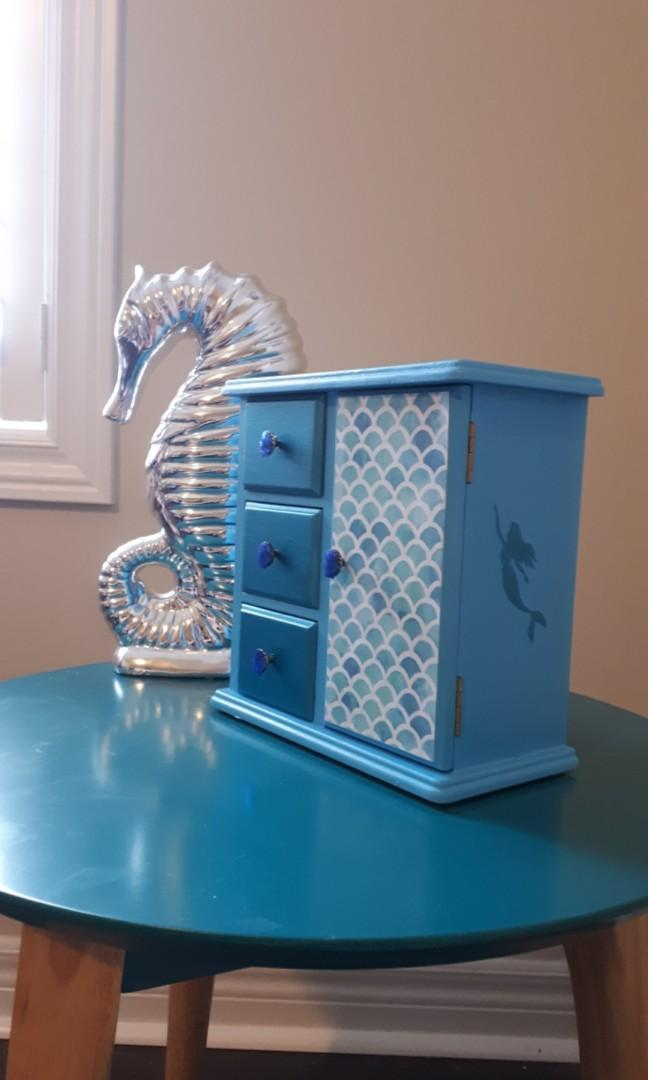 Little mermaid refinished girls wood jewellery box