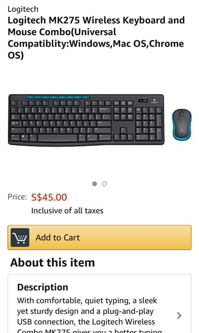 e5ae37d93c2 Logitech MK 275 wireless keyboard and mouse, Electronics, Computer ...