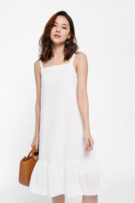 9a2fe8e19 LOVE BONITO Cezanne Ruffled Hem Dress in White, Women's Fashion ...