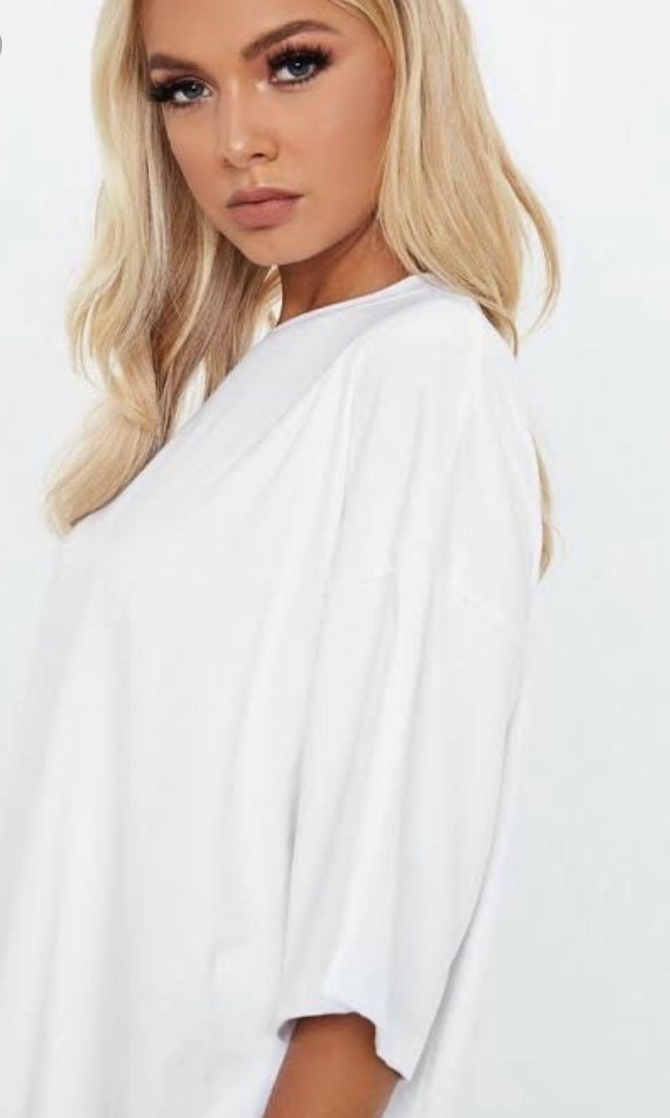 Missguided Size 10 White oversized drop shoulder top