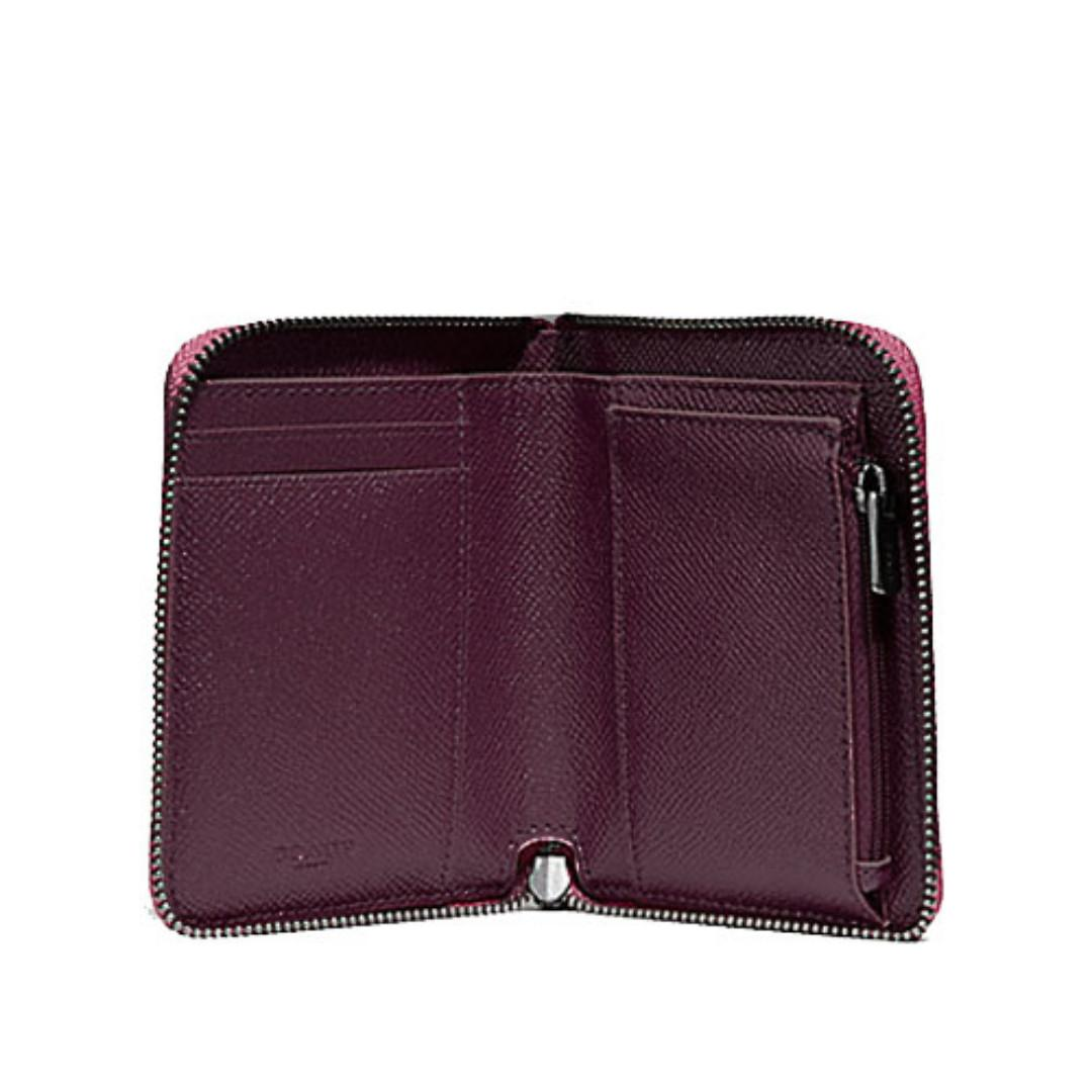 NEW ARRIVAL Coach Small Zip Around Wallet In Metallic Crossgrain Leather With Coach Gift Box Metallic Magenta