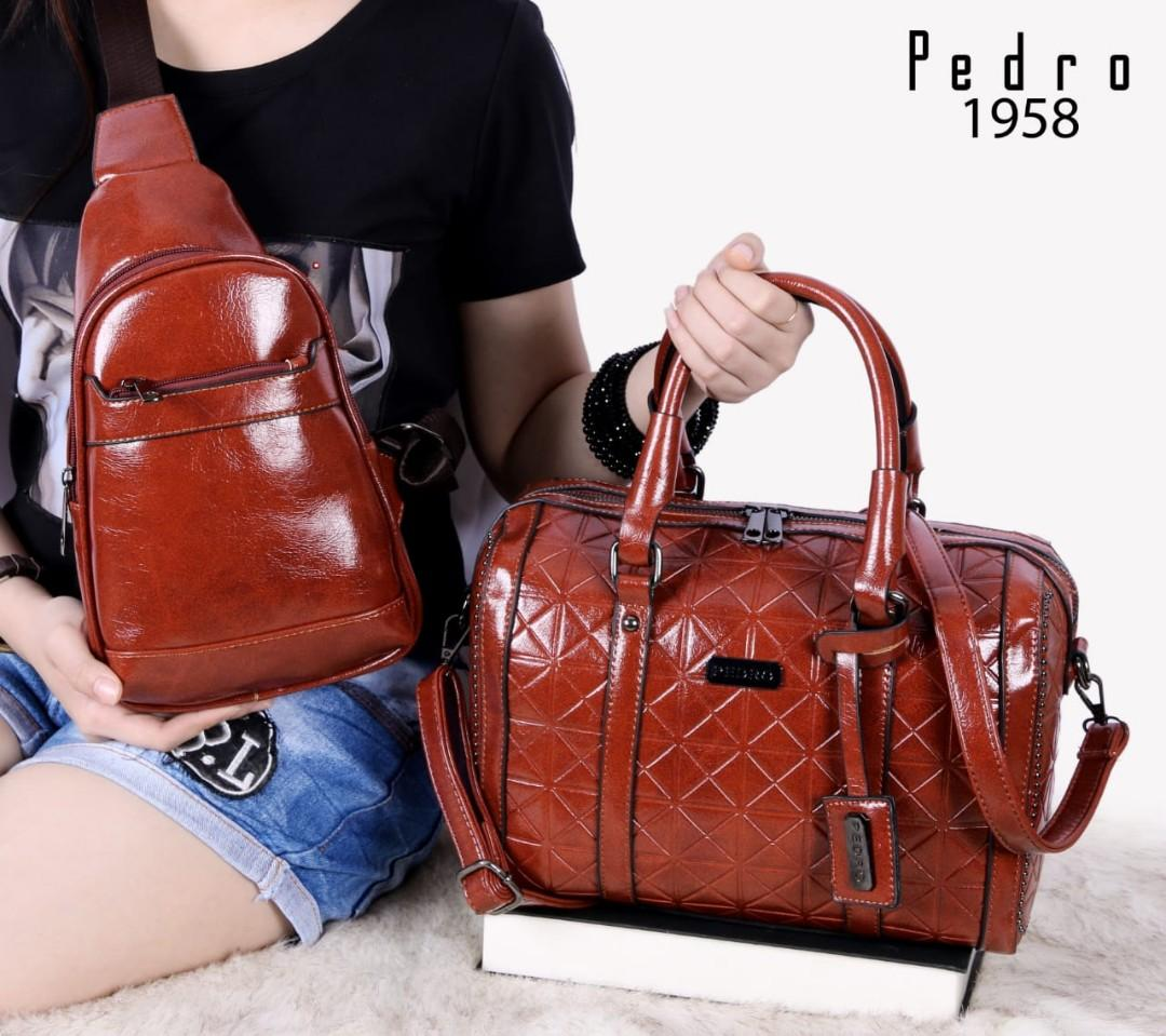 PEDRO Boston Ellish Greatest Style With Waist Bags 2in1 Soft Leather Hardware Black(1958)