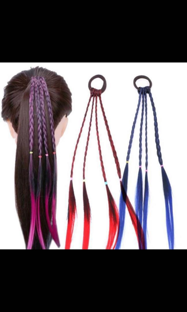 Girls' Clothing Mother & Kids New Girls Colorful Wigs Ponytail Hair Ornament Headbands Rubber Bands Beauty Hair Bands Headwear Kids Hair Accessories Head Band