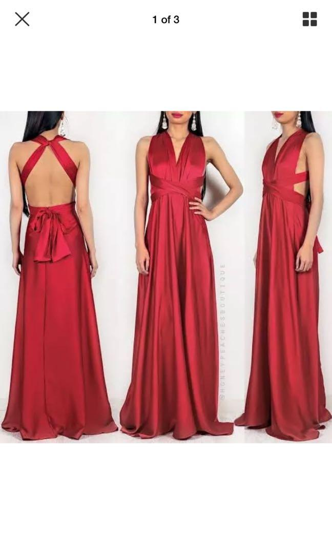 Red formal maxi dress