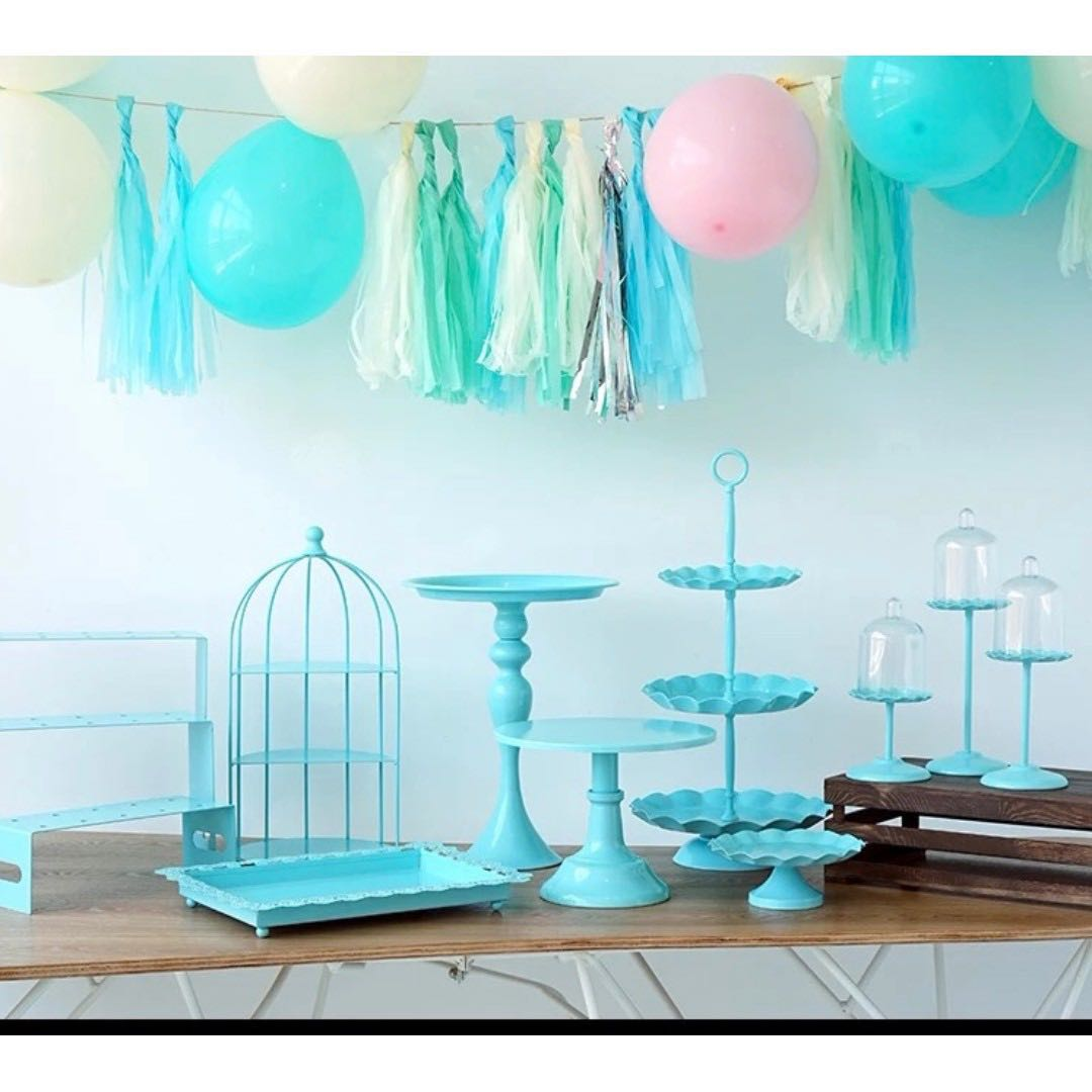 Rent Tiffany Blue Color Dessert Table Trays And Cake Stand