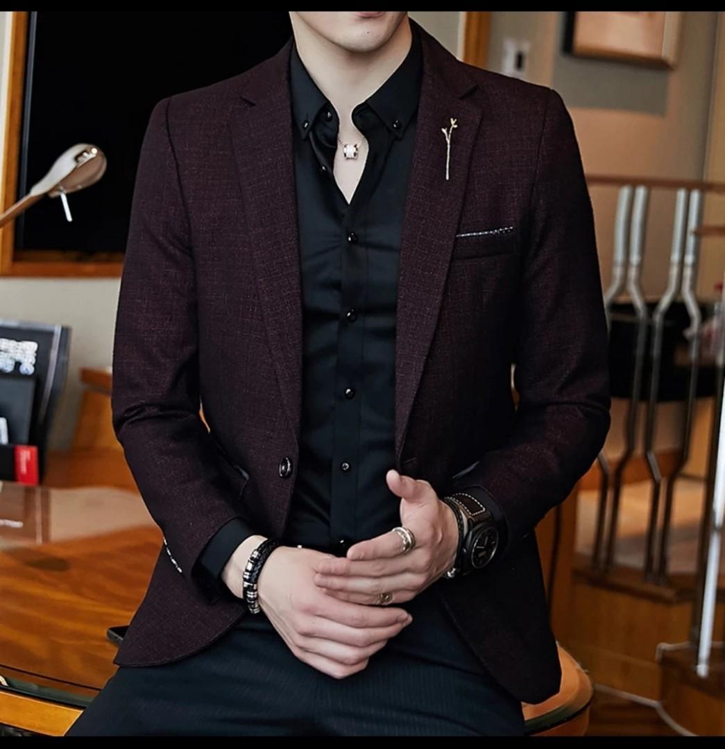 Suit blazer men black blue red unique style, Men\u0027s Fashion