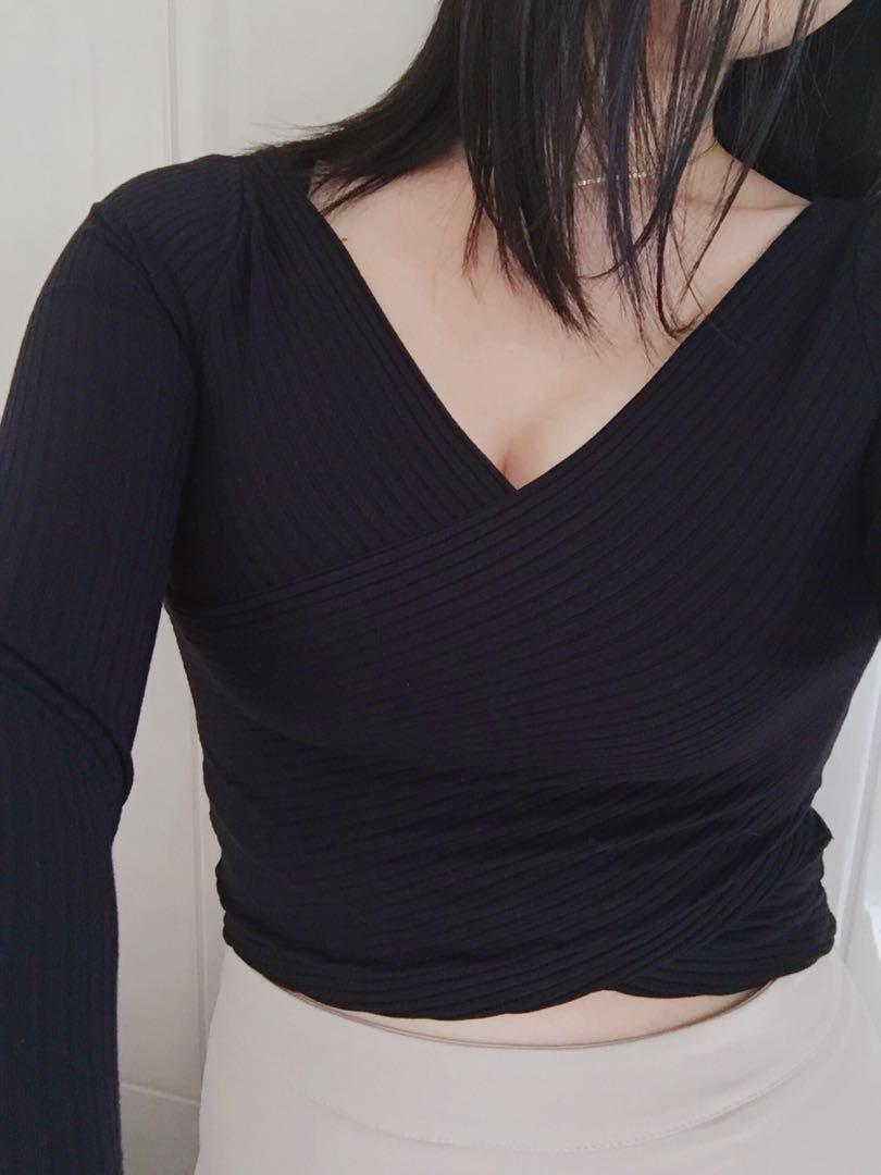 V neck wrap crop top black long sleeve semi formal