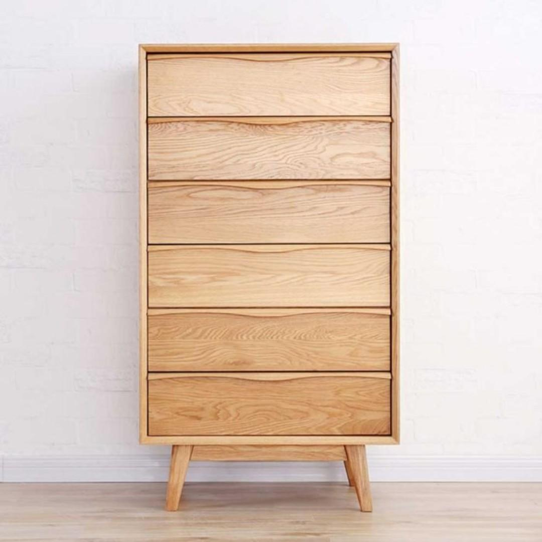 Yasu Nature Oak 6 Drawers Storage Chest