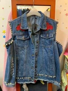牛仔外套 off-shoulder jeans jacket