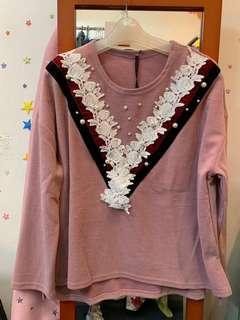 Lace玫瑰粉紅長袖上衣 pink long sleeve shirt
