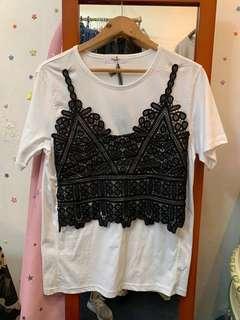 韓國lace吊帶背心白t-shirt