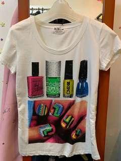 韓國七彩色指甲油閃石t-shirt bling bling