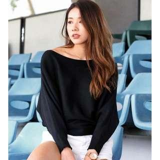 🚚 COMFY SLOUCHY KNITTED TOP (BLACK) LOVET
