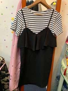 韓國橫間上衣+黑色吊帶連身裙
