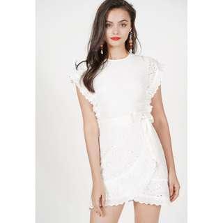 MDS Henrietta Ruffled Dress in White