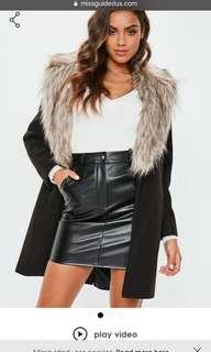 Black misguided fur collar coat