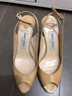 Authentic Jimmy Choo Patent Beige Nova Slingbacks heels