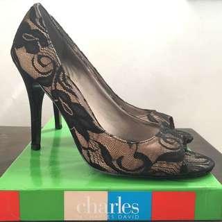 Charles by Charles David Satin Nude/Black Heels