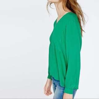 Maje silk green blouse sz 2 (sm to med)
