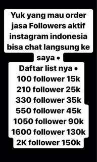 Jasa tambah follower instagram aktif indonesia khusus pembisnis. Dijamin 100% no hoax