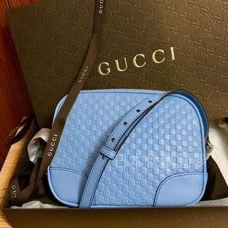 全新 Gucci 牛皮 藍色 淺藍色 水藍色 肩背包 斜背包 小包 WOC 保證真品 正品 GG logo 附背帶