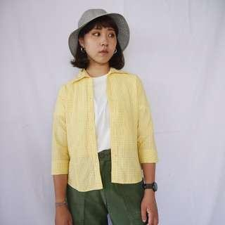 🌴90s黃色細格紋泡泡布七分袖襯衫 女款Vintage 日本帶回古著