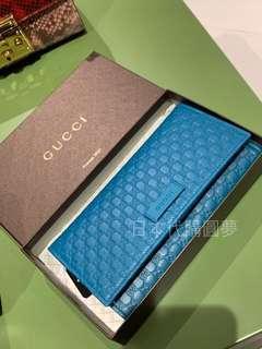 全新 Gucci 孔雀藍 藍綠色 藍色 GG logo 牛皮 長夾 皮夾 扣式 女用 保證真品 正品 皮夾 經典款