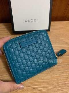 全新 Gucci 孔雀藍 藍綠色 藍色 綠色 GG logo 牛皮 短夾 皮夾 扣式 女用 保證真品 正品 皮夾 經典款