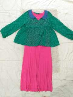 Mouslem Dress For Kids with inner and outer polka