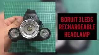 BORUIT 3 LED RECHARGEABLE HEADLAMP