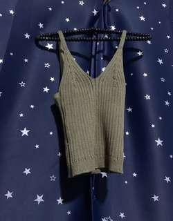 Olive Knit Crop V Top