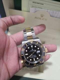 🚚 Like new Rolex submariner half gold black dial 116613