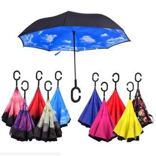 Reverse Umbrella Inverted Folding Umbrellas Double Layer Sun Parasol Car Umbrella Rain Windproof